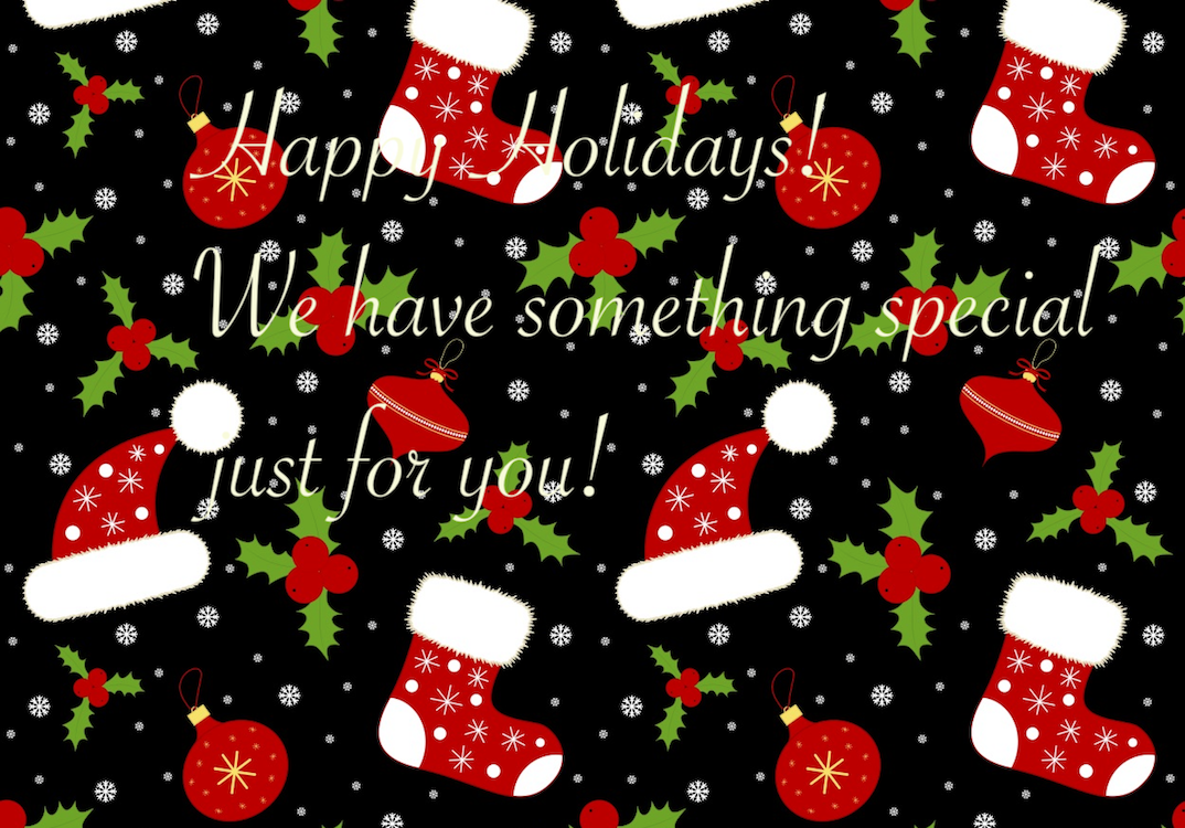 Holiday message with stockings