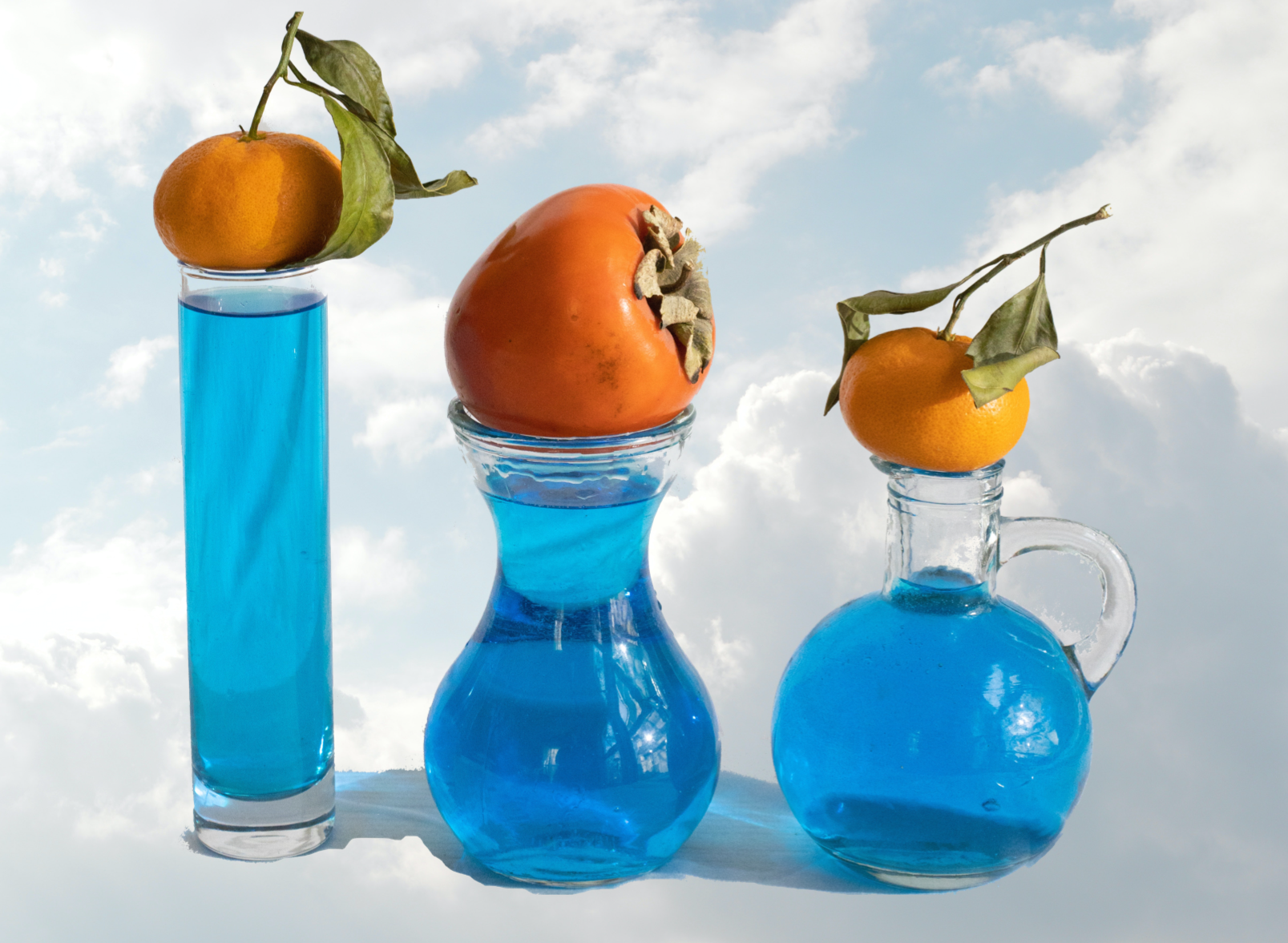 Fantasy Blue beakers and fruits